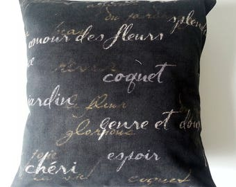French Script Pillow - Sample SALE Clearance - 16 x 16 Pillow Cover-  French Pillow - French Country -  French Decor - Bohemian Style