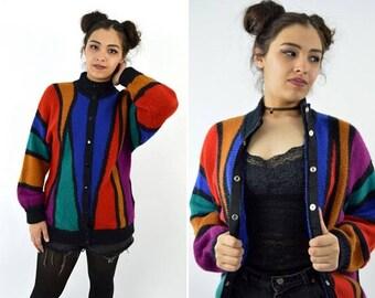 SPRING SALE Vintage 1980's Hipster Grunge Color Blocked Snap up Cardigan - Street Fashion - Black and Orange 80's Retro long Sweater  - size
