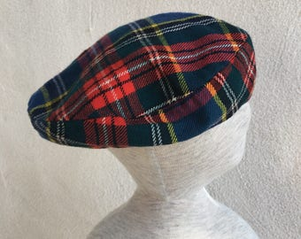 Vintage plaid wool newsboy beret style hat childred size medium