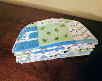 10 Flannel Cloth Diaper Wipes - Blue/Green Baby with Grey Chevron