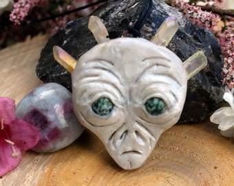 White Pearl Clay Alien Pendant with Quartz Crystal Crown on Black Hemp Cord