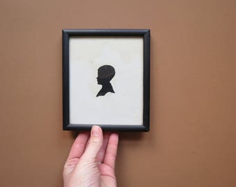 Antique Small Silhouette Portrait // Vintage Framed Black and White Portrait of Young Boy 1934 Collectible Wall Art Rustic Victorian
