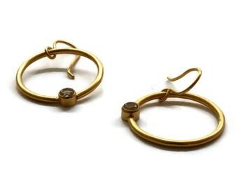 Gold Ring Hoop Earrings , Gold Open Circle Earrings  White Topaz Gold Drop Earrings   Artisan Handmade by  Sheri Beryl
