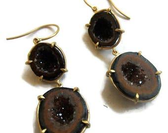 Tabasco Geode Earrings, Long Drusy Quartz Earrings , Solid Gold Geode Drop Earrings,Raw Stone  Dangle  ARTISAN HANDMADE by Sheri Beryl