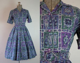 1950's Purple and Blue Shirtwaist Dress / Size Small