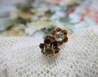 Antique Circa 1900 Paste Earrings in 10K Buttercup Settings - Gold Antique Earrings - Victorian Earrings - Bridal Jewelry - Wedding Earrings