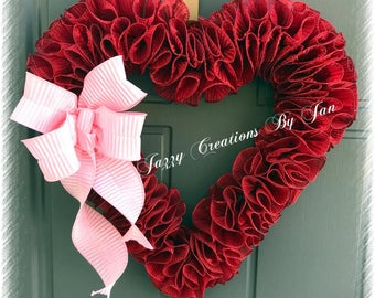 Red Valentine Heart Spiral ribbon Wreath Red Valentine wreath Heart Wreath