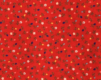 Cotton Fabric / Red Floral Fabric / Calico Fabric / Red Calico Fabric / Vintage Cotton Fabric / Cotton Calico Fabric / Cranston Print Works