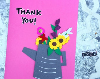 Thank you card, I appreciate you card- Cute, pink thank you card with a bouquet of flowers in a gray water can