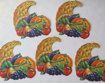 Vintage Thanksgiving Cornucopia Poster Die Cut Horn of Plenty Set of Five Thanksgiving Decoration Harvest Decor