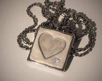 Heart Imprint Clay Diffuser Necklace