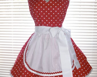 French Maid Apron Pin-up Retro Style Cherry Red with White Polka Dots Flirty Skirt Sweetheart Neckline