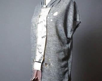 ON SALE Casual sleeveless  hoodie - Up-cycled top hoodie - Funky - Street wear - Hoodie