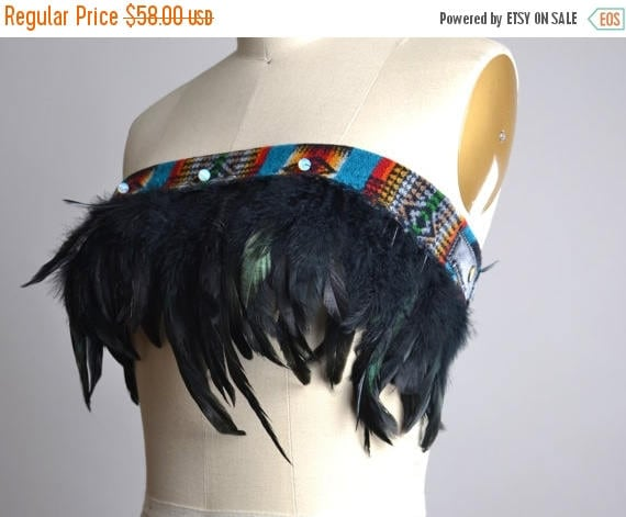 ON SALE Festival Feather Top - Burning man Clothing - Native American Inspired - Hippie - Festival Fashion - Festival Clothing