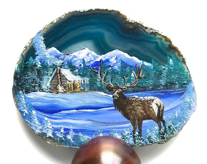 Hand Painted Brazilian Agate Winter Log Cabin and Elk