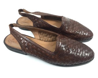 Vintage brown basket weave leather flats by ROMANO
