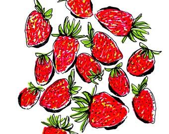Strawberry Card, Summer Card, Greeting Card, Art Card, Illustrated Card, Blank Notecard