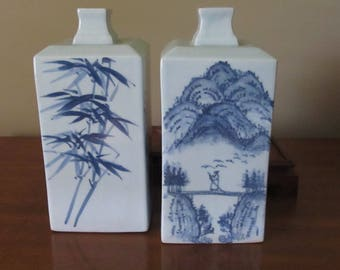 30 % off Vintage Japanese blue scenic vases with wooden bases (2)