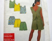 Simplicity 8203 Misses' Top and Shorts Cute One Button Back Size 10-20 Vintage 1998