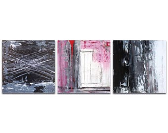 Abstract Wall Art 'Urban Triptych 5 Large' by Celeste Reiter - Urban Decor Contemporary Color Layers Artwork on Plexiglass