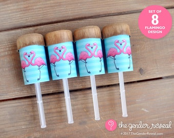 Flamingo Confetti Push-Pops for Gender Reveal Parties - Set of 8