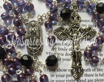 Transparent Amethyst Czech glass and Matte Jet Black Czech glass bead rosary with silver plated Our Lady of Guadalupe center and crucifix