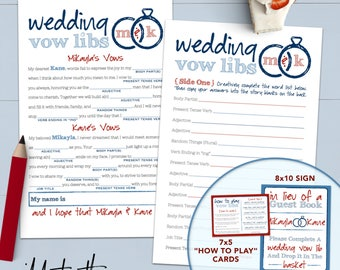 Funny Wedding Vows Mad Lib Bridal Shower Game - Printable Or Printed [#222]
