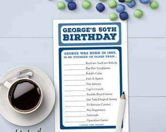 Custom Adult Birthday Party Game (Younger / Older) Printable OR Printed [#100C]