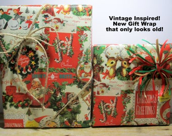 Vintage Inspired Old Fashioned Christmas Gift Wrap - It's New But Looks Old - Christmas Wrap of Yesteryear, 10 feet long x 24 inches wide