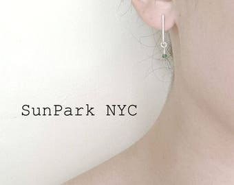 SunPark NYC Sterling Silver Hammer Bar Gemstone Stud Earrings/Silver Bar Earrings/Gemstone Earrings/Stud Earrings/Ruby Emerald Birthstone