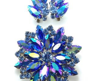 Rhinestone Brooch Earring Set Deepest Blue Hue AB Stones Possible Juliana Jewelry High End Make Materials Style