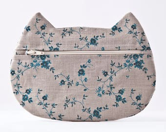 Boho Cosmetic Bag, Gray Makeup Bag, Floral Pencil Case, Cat Lover Gift, Zipper Bag, Toiletries Bag, Summer Outdoors, Gray Bag