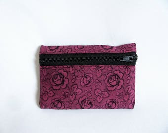 Small pouch- Rose floral print cotton
