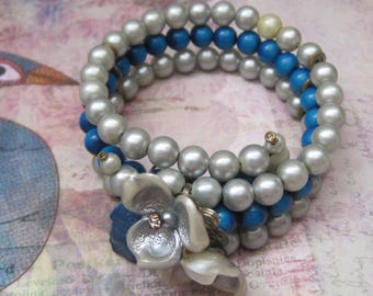 Vintage Floral Memory Wire Bracelet, Three Row Silver And Blue Beads, Vintage Jewelry, 1950's, Mid-Century
