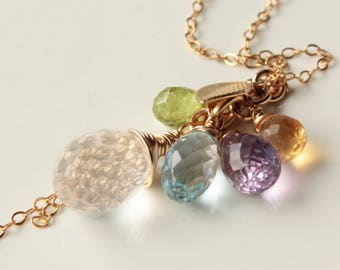 Mixed Gemstone Cluster Necklace, Quartz, Amethyst, Peridot, Blue Topaz, Citrine, Goldfilled, chain fringe pendant, holiday gift for her,4036