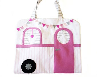 Handmade fabric doll house, cloth doll house portable fabric doll house, mini doll house, gypsy caravan, caravan doll house