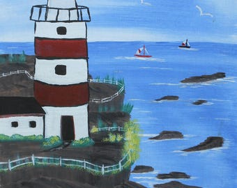 vintage Maine Lubec west Quoddy light house oil painting signed