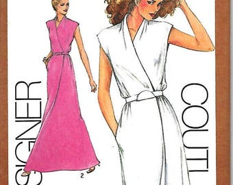 25% OFF Simplicity 9518 Designer Couturier Pattern,  Cathy Hardwick Mock Wrap Dress or Evening Dress, Size 6-8, 10, 12, 14 & 16, UNCUT