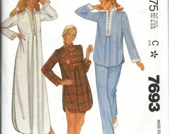 ON SALE McCall's 7693 Misses Nightgown, Nightshirt and Pajamas Pattern, Size Small, UNCUT