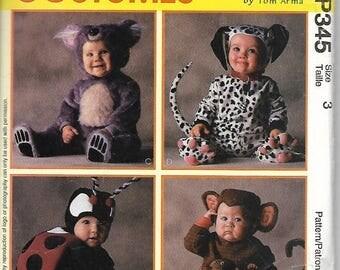 McCall's 8897 /P345 Toddler Costume, Arma Collection, Lady Bug, Monkey, Koala Bear & Dalmation, Size 3