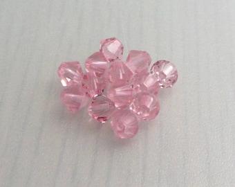 10 Light Rose 4mm Swarovski Crystal Beads, 4mm 5328 Xilion Bicone Crystals, Light Pink Crystal Beads, Bead Destash