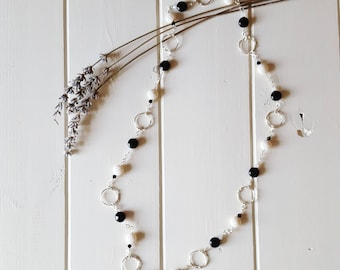 Rebekah - Black Ivory Silver Continuous Necklace, Ready to Ship