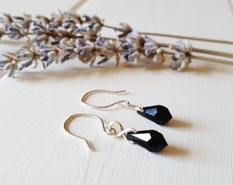Cora - Jet Black Crystal Drop Earrings, Ready to Ship