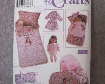 "18"" Doll and Child Sleepover, Simplicity 7770, doll sleeping bag, pillow, robe, nightgown, tote + child sized sleeping bag, pillowcase, bag"