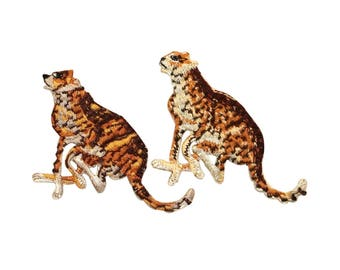 ID 0674AB Set of 2 Wild Cheetah Running Patches Zoo Embroidered Iron On Applique