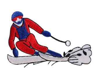 ID 1476 Snow Skiing Patch Downhill Ski Winter Sport Embroidered Iron On Applique