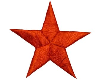 ID 3445 Orange Star Patch Symbol Space Night Sky Embroidered Iron On Applique