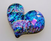 Reserved for Elaine H. Dichroic Heart Cabochon, In Brilliant Blues, Small Heart Cab, Fused Cabochon, Mosaic Heart Tile, Handmade Cabochon