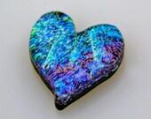 Dichroic Heart, Dichroic Cabochon, Dichroic Heart Cabochon, Mosaic Tile, Decorative Tile, 24 mm x 27 mm
