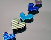5 Glass Heart Tiles, Dichroic Tiles, Shiny Glass Tiles, Small Glass Hearts, Pink, Blue, Green, Blue Purple & Pink Green Tiles,